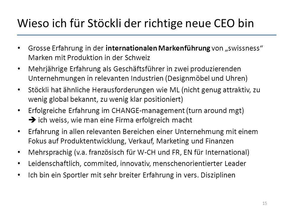 """Wieso ich für Stöckli der richtige neue CEO bin Grosse Erfahrung in der internationalen Markenführung von """"swissness Marken mit Produktion in der Schweiz Mehrjährige Erfahrung als Geschäftsführer in zwei produzierenden Unternehmungen in relevanten Industrien (Designmöbel und Uhren) Stöckli hat ähnliche Herausforderungen wie ML (nicht genug attraktiv, zu wenig global bekannt, zu wenig klar positioniert) Erfolgreiche Erfahrung im CHANGE-management (turn around mgt)  ich weiss, wie man eine Firma erfolgreich macht Erfahrung in allen relevanten Bereichen einer Unternehmung mit einem Fokus auf Produktentwicklung, Verkauf, Marketing und Finanzen Mehrsprachig (v.a."""