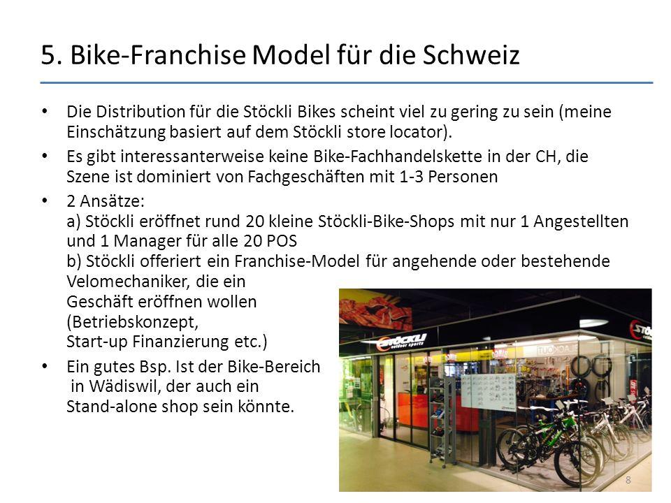 5. Bike-Franchise Model für die Schweiz Die Distribution für die Stöckli Bikes scheint viel zu gering zu sein (meine Einschätzung basiert auf dem Stöc