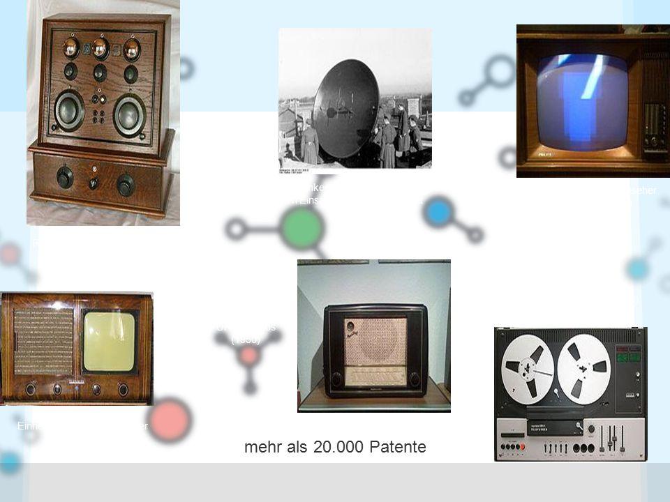mehr als 20.000 Patente Radio Telefunken 3/26a (1926) Einheits-Fernseh-Empfänger E 1 von 1939 Telefunken Radargerät Würzburg im Einsatz bei der Wehrmacht (1942) 'Operette 50' eines der ersten UKW-Radios (1950) Erster Telefunken Farbfernseher PAL Color 708 (1967) Magnetophon 3000hifi (1973)