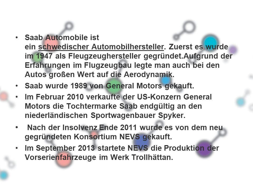 Saab Automobile ist ein schwedischer Automobilhersteller.