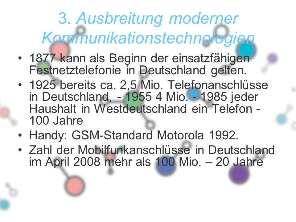 3. Ausbreitung moderner Kommunikationstechnologien 1877 kann als Beginn der einsatzfähigen Festnetztelefonie in Deutschland gelten. 1925 bereits ca. 2