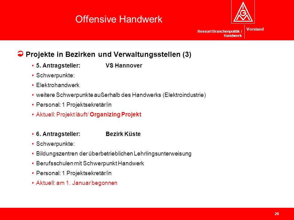 Vorstand Offensive Handwerk Ressort Branchenpolitik / Handwerk Projekte in Bezirken und Verwaltungsstellen (3) 5. Antragsteller:VS Hannover Schwerpunk