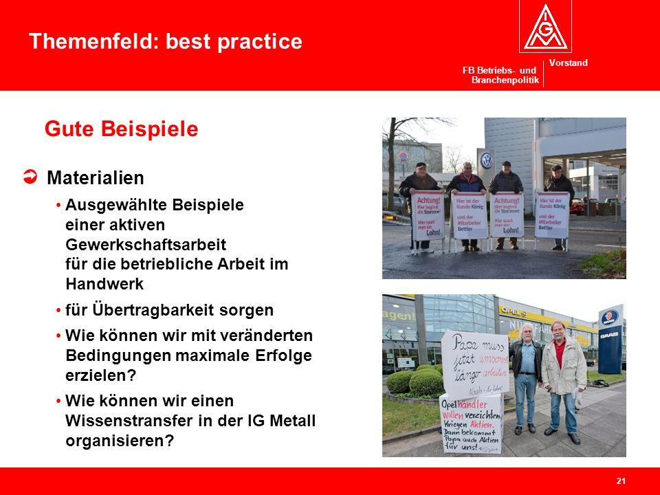 Vorstand FB Betriebs- und Branchenpolitik Gute Beispiele Materialien Ausgewählte Beispiele einer aktiven Gewerkschaftsarbeit für die betriebliche Arbe