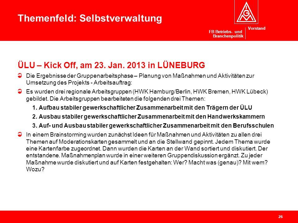 Vorstand FB Betriebs- und Branchenpolitik ÜLU – Kick Off, am 23. Jan. 2013 in LÜNEBURG Die Ergebnisse der Gruppenarbeitsphase – Planung von Maßnahmen