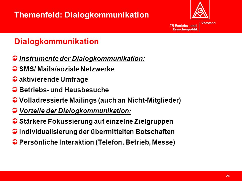 Vorstand FB Betriebs- und Branchenpolitik Dialogkommunikation Instrumente der Dialogkommunikation: SMS/ Mails/soziale Netzwerke aktivierende Umfrage B