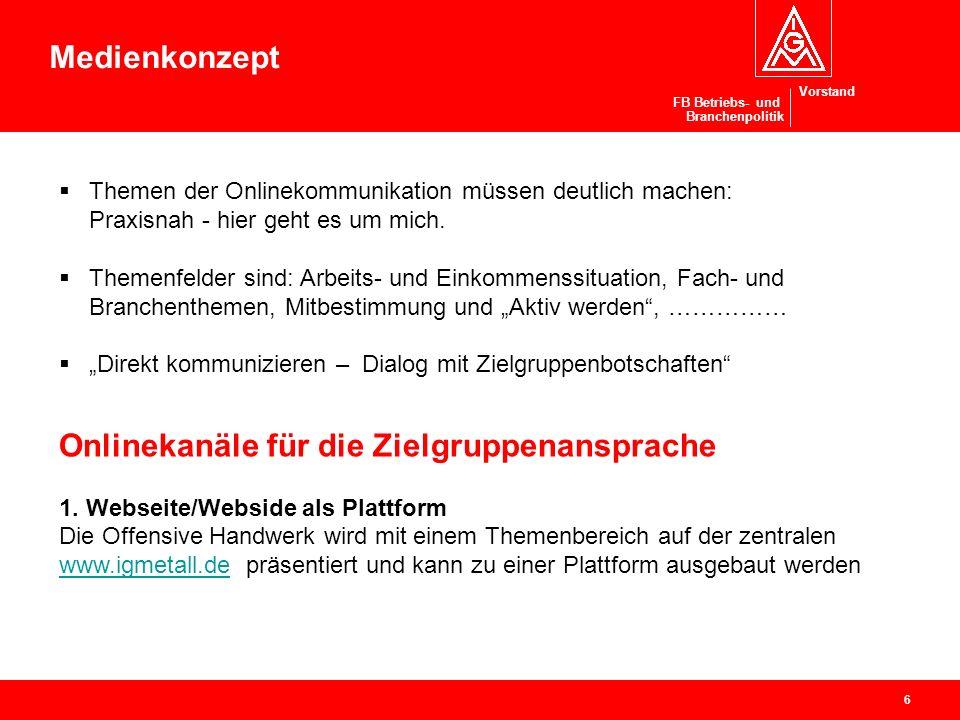 Vorstand Offensive Handwerk Ressort Branchenpolitik / Handwerk Projekte in Bezirken und Verwaltungsstellen 1.