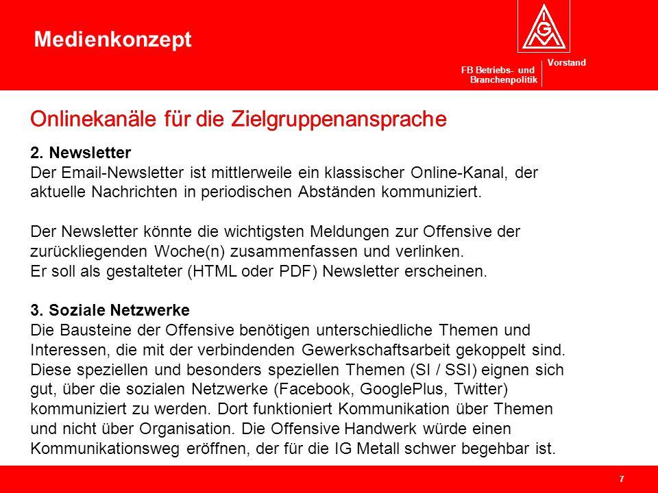 Vorstand Offensive Handwerk Ressort Branchenpolitik / Handwerk Projekte in Bezirken und Verwaltungsstellen (2) 3.