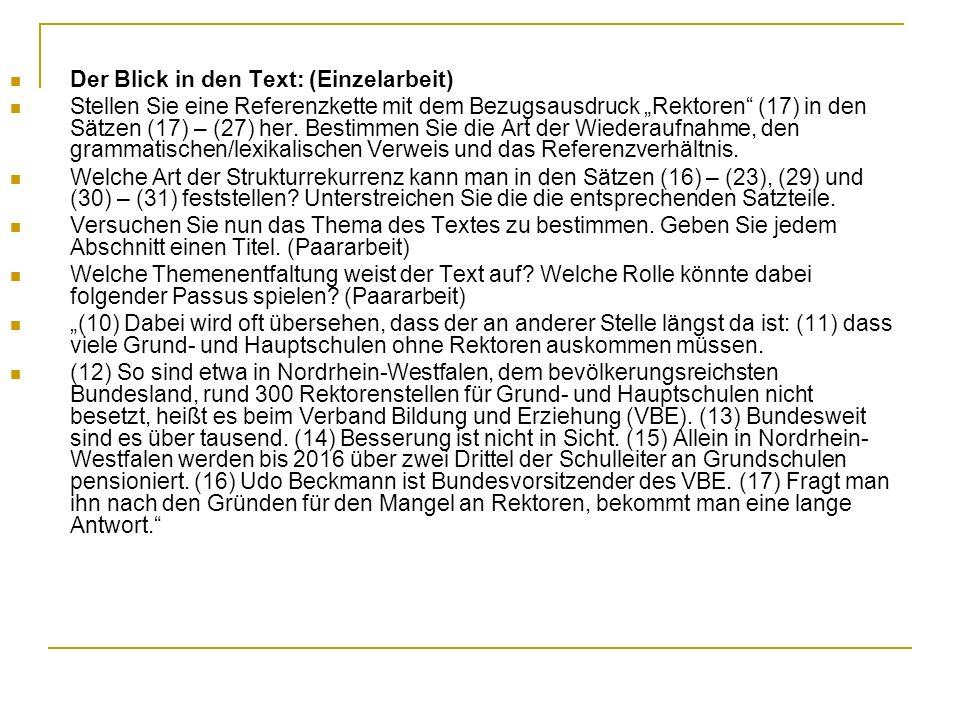 """Der Blick in den Text: (Einzelarbeit) Stellen Sie eine Referenzkette mit dem Bezugsausdruck """"Rektoren"""" (17) in den Sätzen (17) – (27) her. Bestimmen S"""