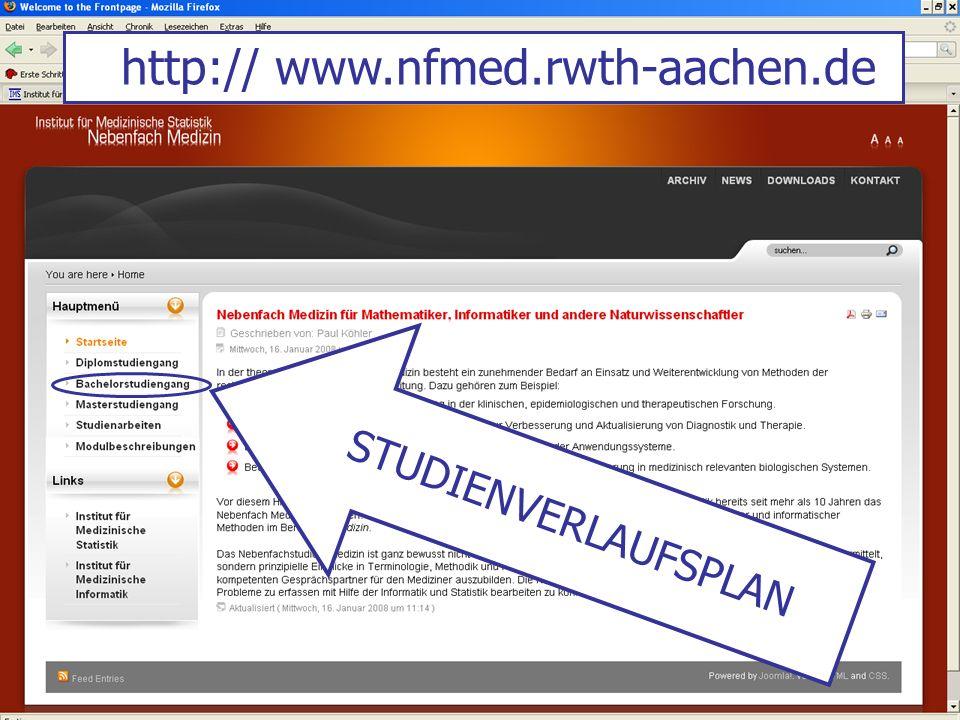 http:// www.nfmed.rwth-aachen.de STUDIENVERLAUFSPLAN