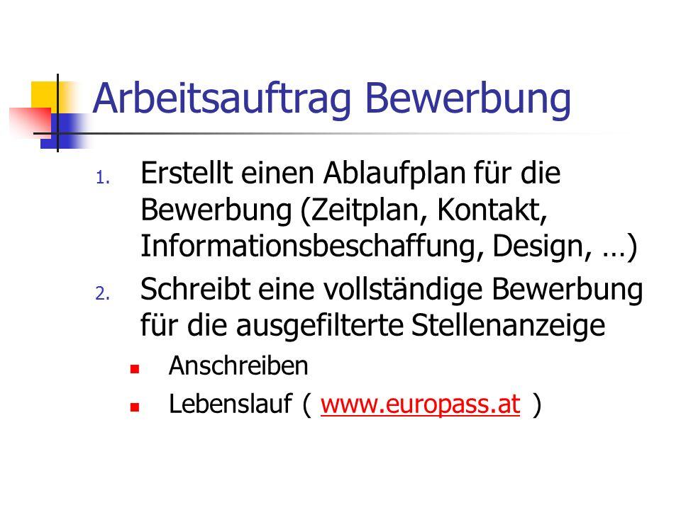 Arbeitsauftrag Bewerbung 1. Erstellt einen Ablaufplan für die Bewerbung (Zeitplan, Kontakt, Informationsbeschaffung, Design, …) 2. Schreibt eine volls