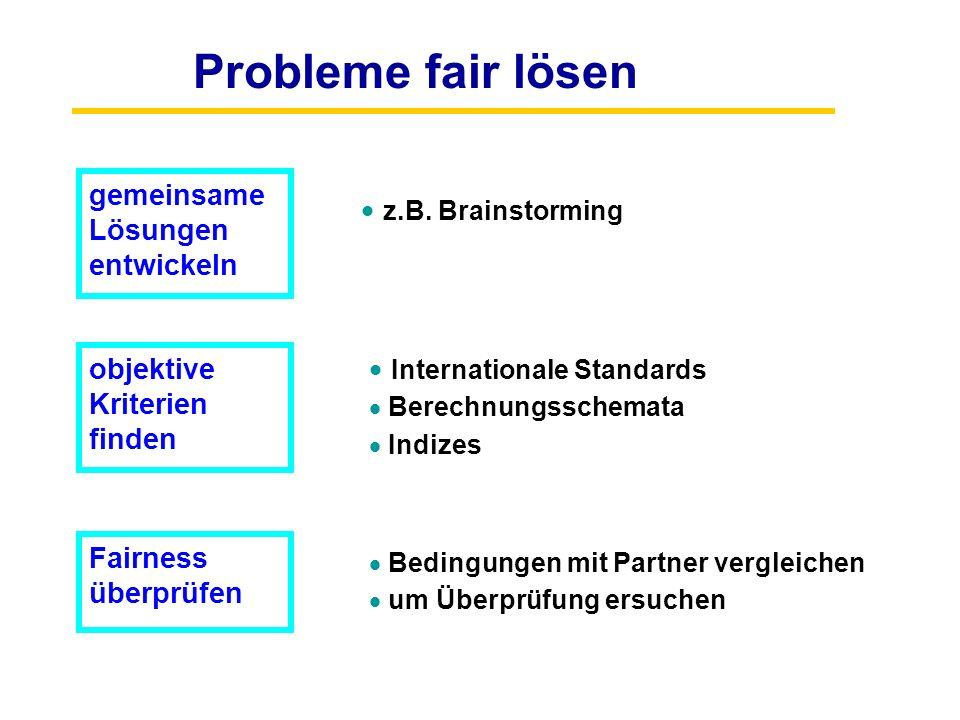 Probleme fair lösen gemeinsame Lösungen entwickeln objektive Kriterien finden Fairness überprüfen  z.B. Brainstorming  Internationale Standards  Be