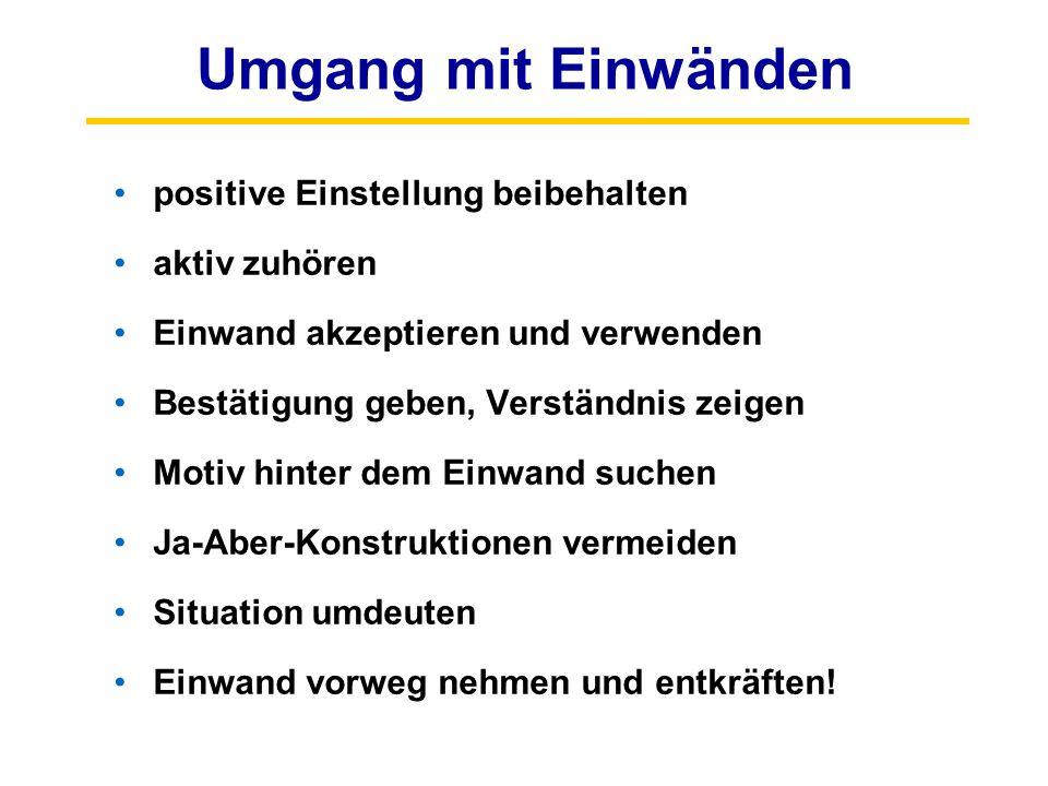 Umgang mit Einwänden positive Einstellung beibehalten aktiv zuhören Einwand akzeptieren und verwenden Bestätigung geben, Verständnis zeigen Motiv hint