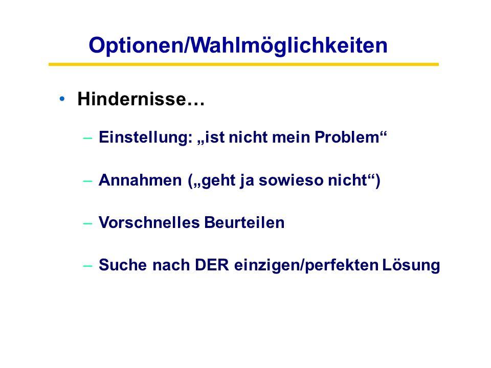 """Optionen/Wahlmöglichkeiten Hindernisse… –Einstellung: """"ist nicht mein Problem"""" –Annahmen (""""geht ja sowieso nicht"""") –Vorschnelles Beurteilen –Suche nac"""