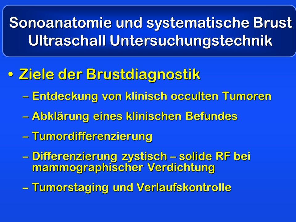 Ziele der BrustdiagnostikZiele der Brustdiagnostik –Entdeckung von klinisch occulten Tumoren –Abklärung eines klinischen Befundes –Tumordifferenzierun