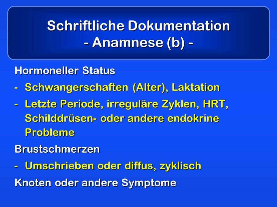 Schriftliche Dokumentation - Anamnese (b) - Hormoneller Status -Schwangerschaften (Alter), Laktation -Letzte Periode, irreguläre Zyklen, HRT, Schilddr