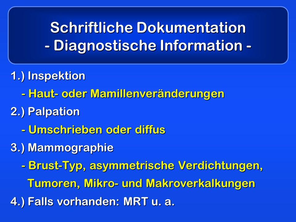 Schriftliche Dokumentation - Diagnostische Information - 1.) Inspektion - Haut- oder Mamillenveränderungen 2.) Palpation - Umschrieben oder diffus 3.)