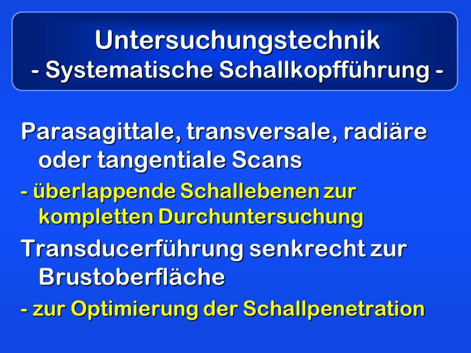 Untersuchungstechnik - Systematische Schallkopfführung - Parasagittale, transversale, radiäre oder tangentiale Scans - überlappende Schallebenen zur k