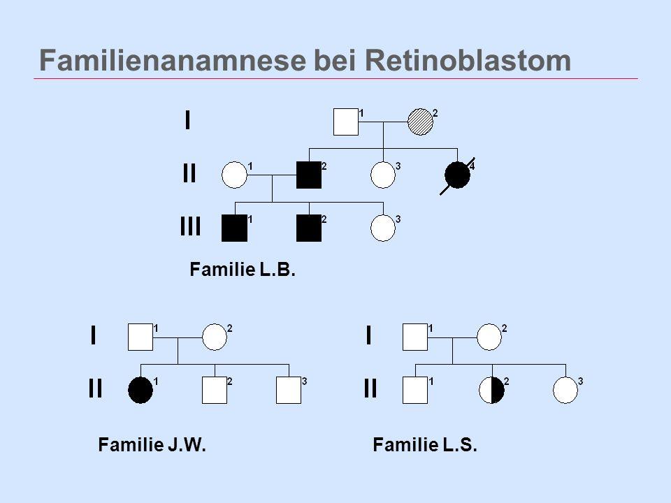 Familienanamnese bei Retinoblastom Familie L.S.Familie J.W. Familie L.B.