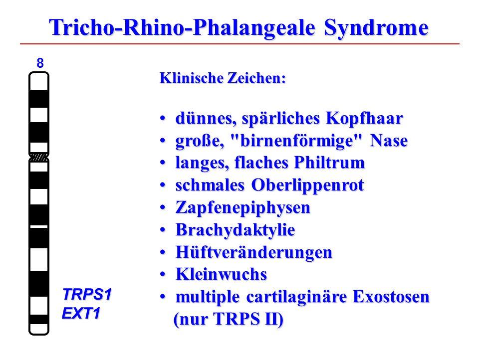 Klinische Zeichen: dünnes, spärliches Kopfhaar dünnes, spärliches Kopfhaar große, birnenförmige Nase große, birnenförmige Nase langes, flaches Philtrum langes, flaches Philtrum schmales Oberlippenrot schmales Oberlippenrot Zapfenepiphysen Zapfenepiphysen Brachydaktylie Brachydaktylie Hüftveränderungen Hüftveränderungen Kleinwuchs Kleinwuchs multiple cartilaginäre Exostosen (nur TRPS II) multiple cartilaginäre Exostosen (nur TRPS II) Tricho-Rhino-Phalangeale Syndrome 8TRPS1EXT1