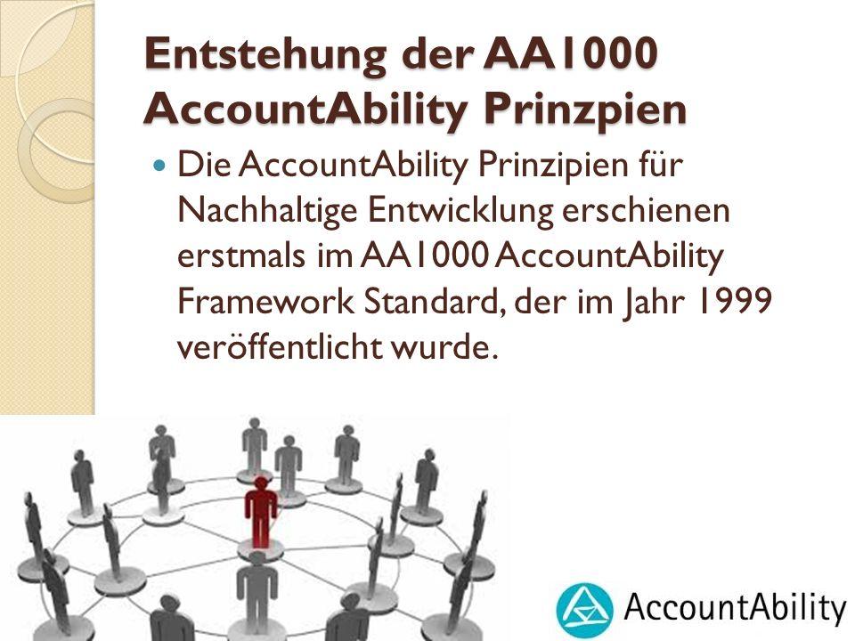 Entstehung der AA1000 AccountAbility Prinzpien Die AccountAbility Prinzipien für Nachhaltige Entwicklung erschienen erstmals im AA1000 AccountAbility