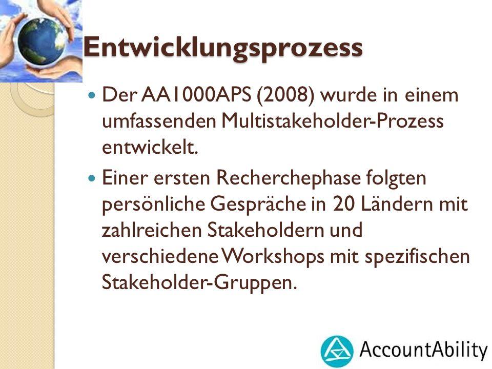 Entwicklungsprozess Der AA1000APS (2008) wurde in einem umfassenden Multistakeholder-Prozess entwickelt. Einer ersten Recherchephase folgten persönlic