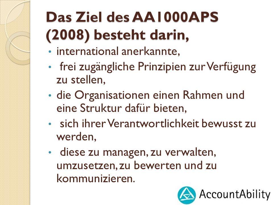 Das Ziel des AA1000APS (2008) besteht darin, international anerkannte, frei zugängliche Prinzipien zur Verfügung zu stellen, die Organisationen einen