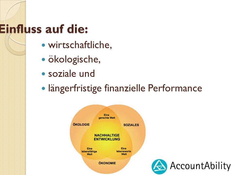Einfluss auf die: wirtschaftliche, ökologische, soziale und längerfristige finanzielle Performance