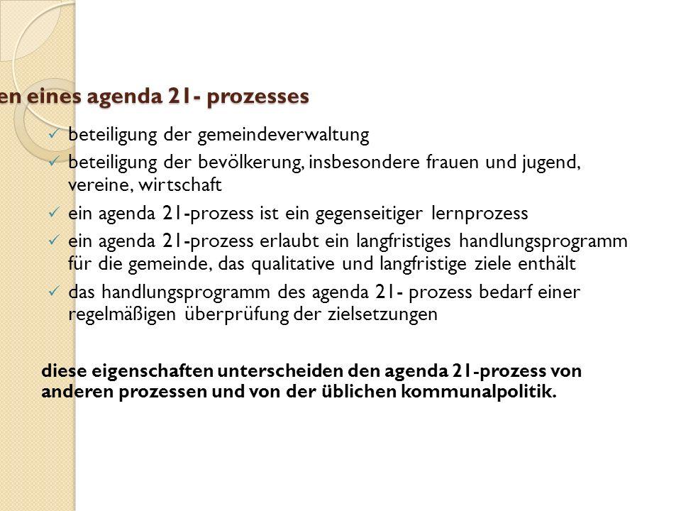 eigenschaften eines agenda 21- prozesses beteiligung der gemeindeverwaltung beteiligung der bevölkerung, insbesondere frauen und jugend, vereine, wirt