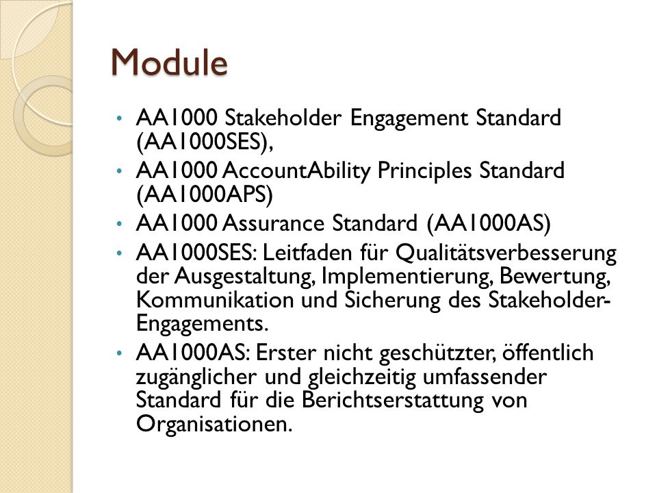 Module AA1000 Stakeholder Engagement Standard (AA1000SES), AA1000 AccountAbility Principles Standard (AA1000APS) AA1000 Assurance Standard (AA1000AS)