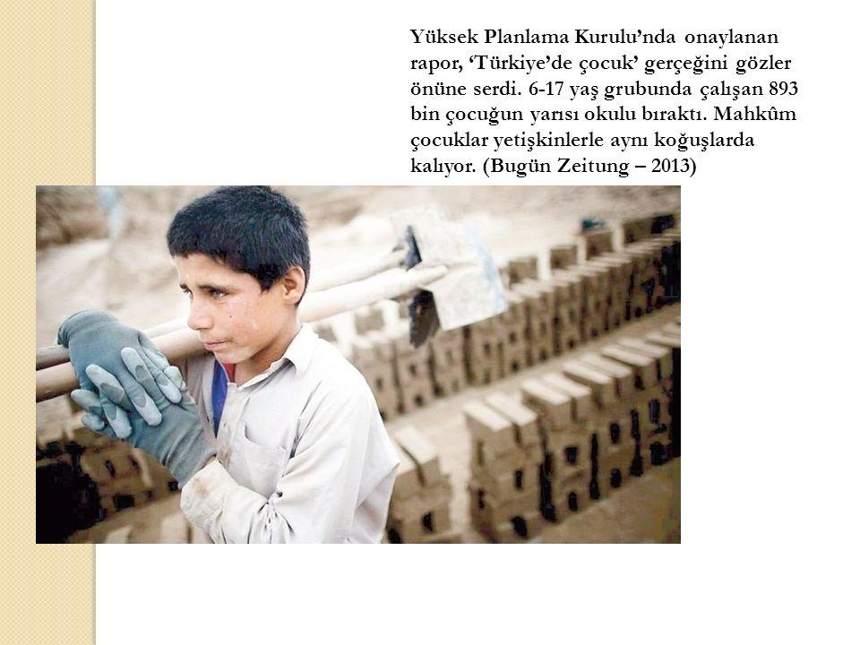 Yüksek Planlama Kurulu'nda onaylanan rapor, 'Türkiye'de çocuk' gerçeğini gözler önüne serdi. 6-17 yaş grubunda çalışan 893 bin çocuğun yarısı okulu bı
