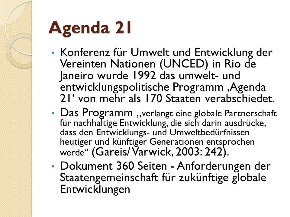 Agenda 21 Konferenz für Umwelt und Entwicklung der Vereinten Nationen (UNCED) in Rio de Janeiro wurde 1992 das umwelt- und entwicklungspolitische Prog