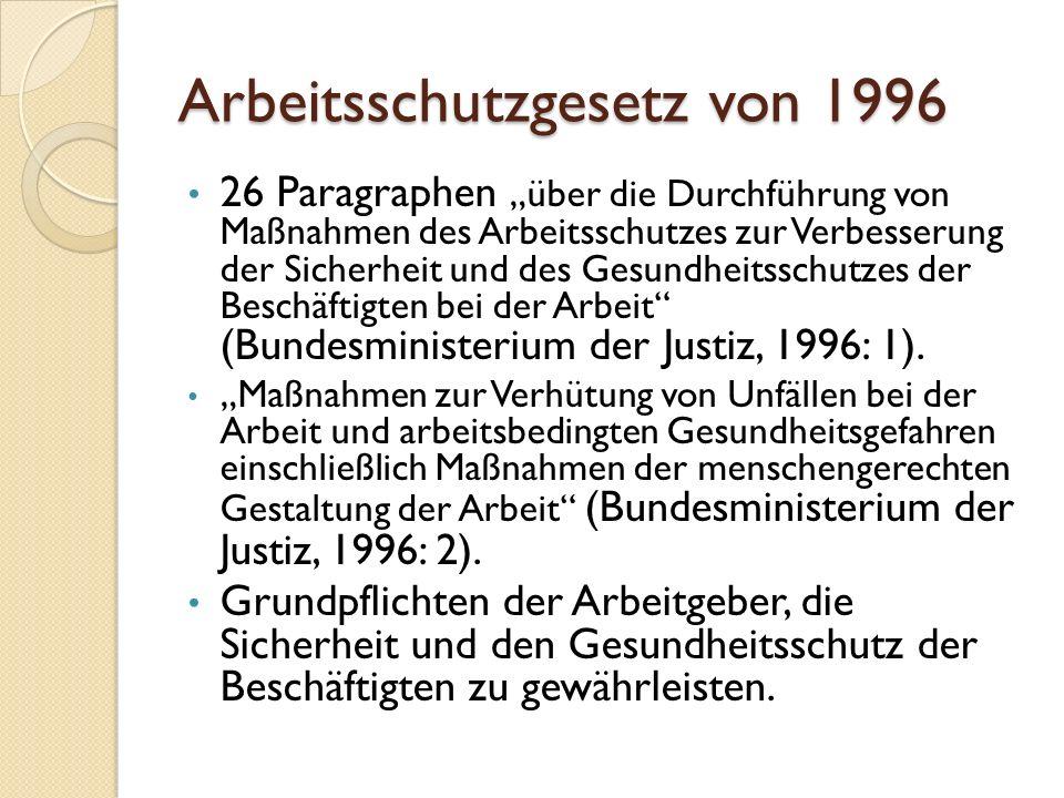 """Arbeitsschutzgesetz von 1996 26 Paragraphen """"über die Durchführung von Maßnahmen des Arbeitsschutzes zur Verbesserung der Sicherheit und des Gesundhei"""