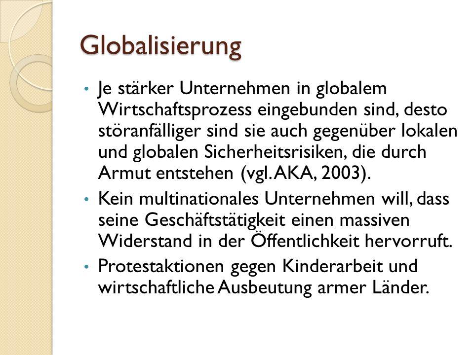 Globalisierung Je stärker Unternehmen in globalem Wirtschaftsprozess eingebunden sind, desto störanfälliger sind sie auch gegenüber lokalen und global