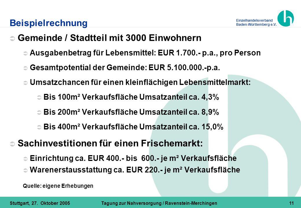 Einzelhandelsverband Baden-Württemberg e.V. Stuttgart, 27. Oktober 2005Tagung zur Nahversorgung / Ravenstein-Merchingen11 Beispielrechnung  Gemeinde