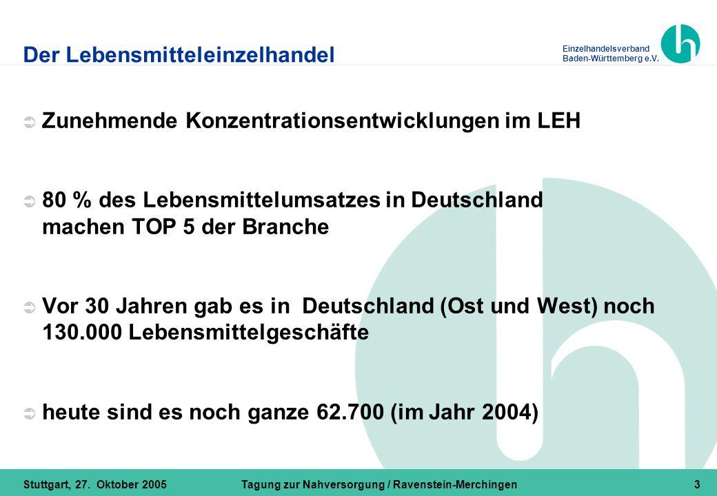Einzelhandelsverband Baden-Württemberg e.V. Stuttgart, 27. Oktober 2005Tagung zur Nahversorgung / Ravenstein-Merchingen3 Der Lebensmitteleinzelhandel