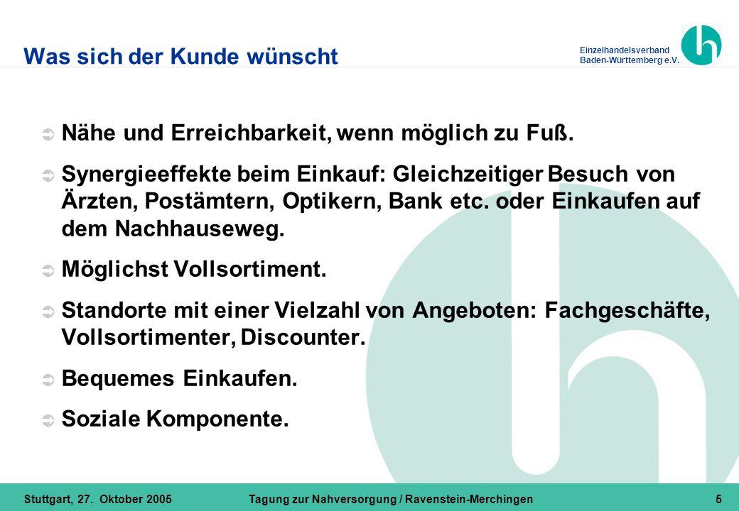 Einzelhandelsverband Baden-Württemberg e.V. Stuttgart, 27. Oktober 2005Tagung zur Nahversorgung / Ravenstein-Merchingen5 Was sich der Kunde wünscht 
