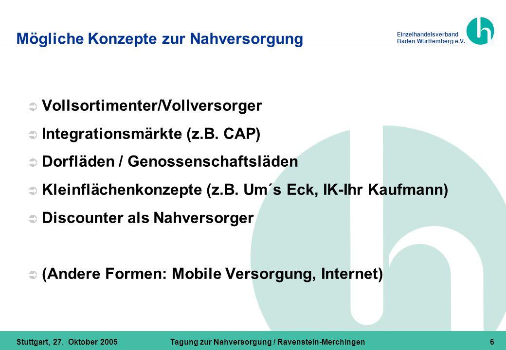 Einzelhandelsverband Baden-Württemberg e.V. Stuttgart, 27. Oktober 2005Tagung zur Nahversorgung / Ravenstein-Merchingen6 Mögliche Konzepte zur Nahvers