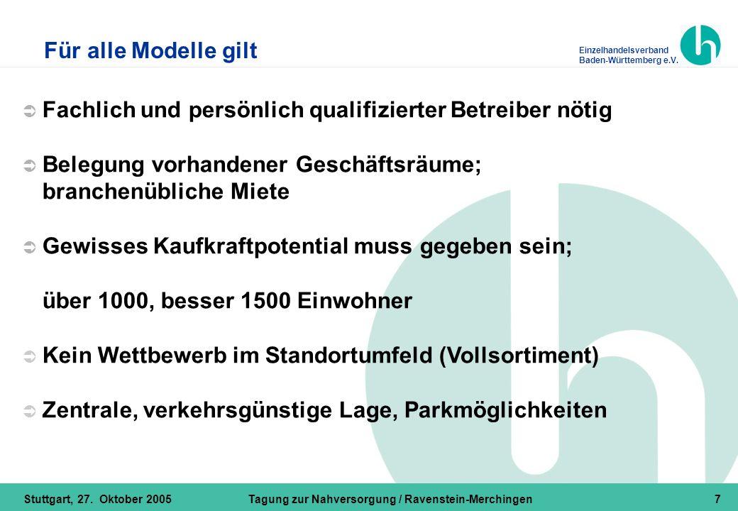 Einzelhandelsverband Baden-Württemberg e.V. Stuttgart, 27. Oktober 2005Tagung zur Nahversorgung / Ravenstein-Merchingen7  Fachlich und persönlich qua