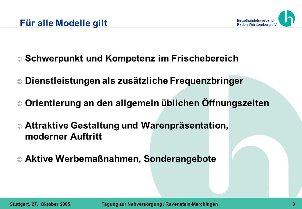 Einzelhandelsverband Baden-Württemberg e.V. Stuttgart, 27. Oktober 2005Tagung zur Nahversorgung / Ravenstein-Merchingen8  Schwerpunkt und Kompetenz i