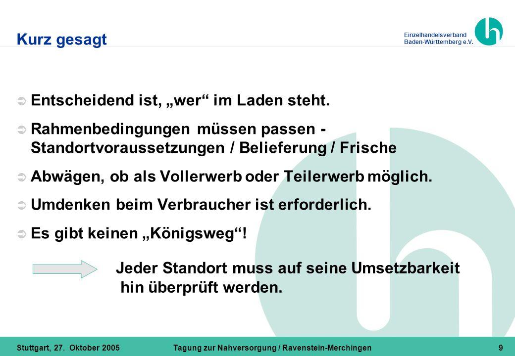 Einzelhandelsverband Baden-Württemberg e.V. Stuttgart, 27. Oktober 2005Tagung zur Nahversorgung / Ravenstein-Merchingen9 Kurz gesagt  Entscheidend is