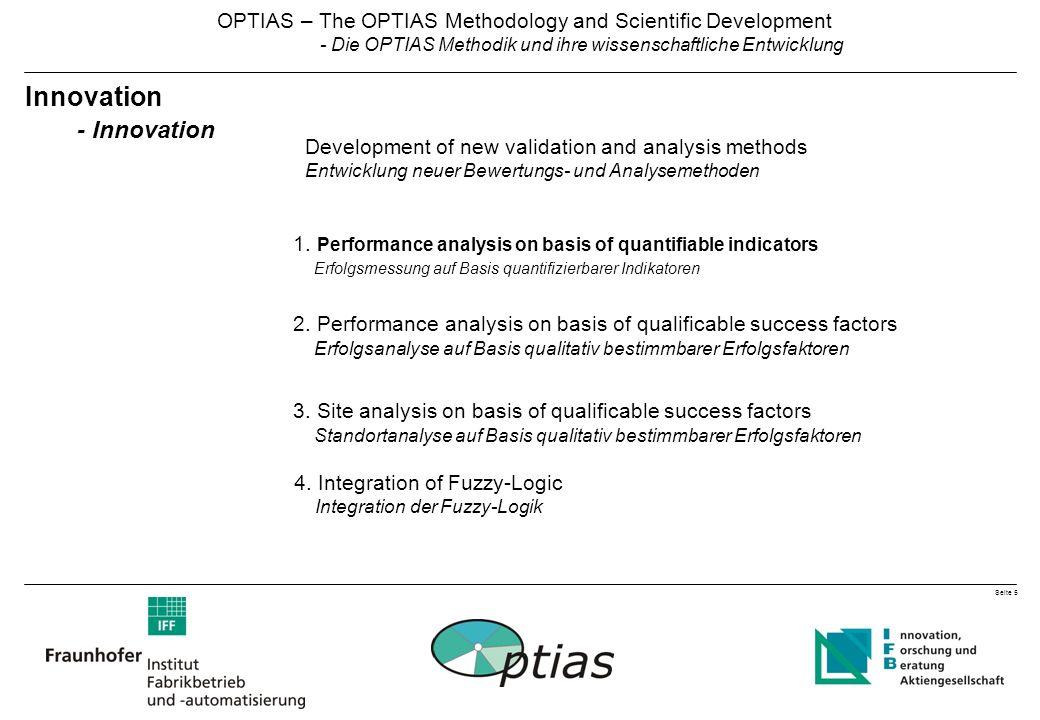 Seite 5 OPTIAS – The OPTIAS Methodology and Scientific Development - Die OPTIAS Methodik und ihre wissenschaftliche Entwicklung Innovation - Innovation 1.
