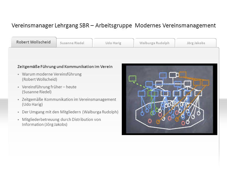 Susanne Riedel Robert Wollscheid Udo Harig Walburga Rudolph Jörg Jakobs Warum moderne Vereinsführung (Robert Wollscheid) Vereinsmanager Lehrgang SBR – Arbeitsgruppe Modernes Vereinsmanagement