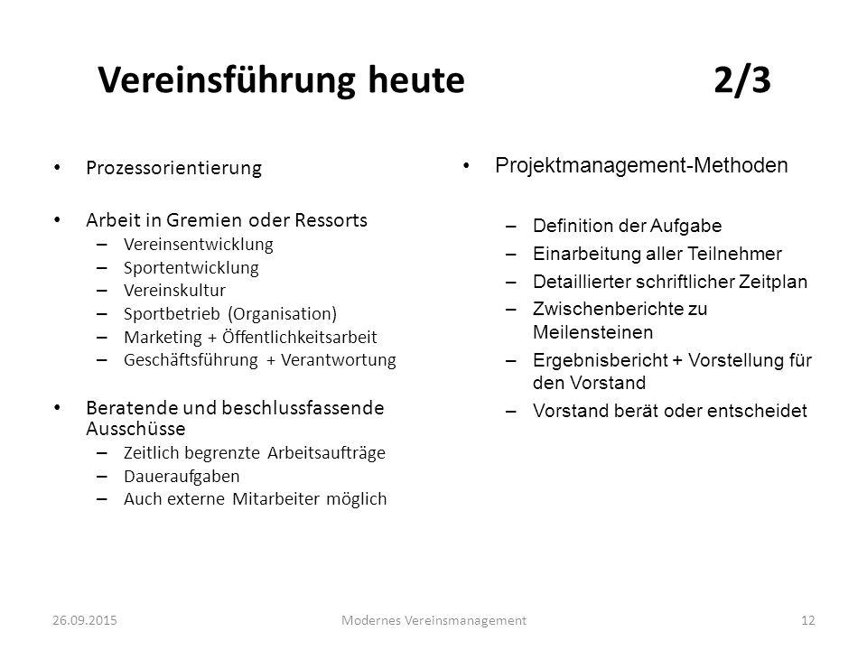 26.09.2015Modernes Vereinsmanagement12 Vereinsführung heute 2/3 Prozessorientierung Arbeit in Gremien oder Ressorts – Vereinsentwicklung – Sportentwic