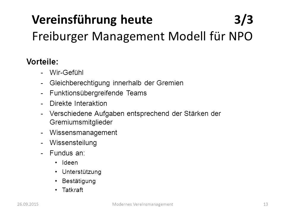26.09.2015Modernes Vereinsmanagement13 Vereinsführung heute 3/3 Freiburger Management Modell für NPO Vorteile: -Wir-Gefühl -Gleichberechtigung innerha
