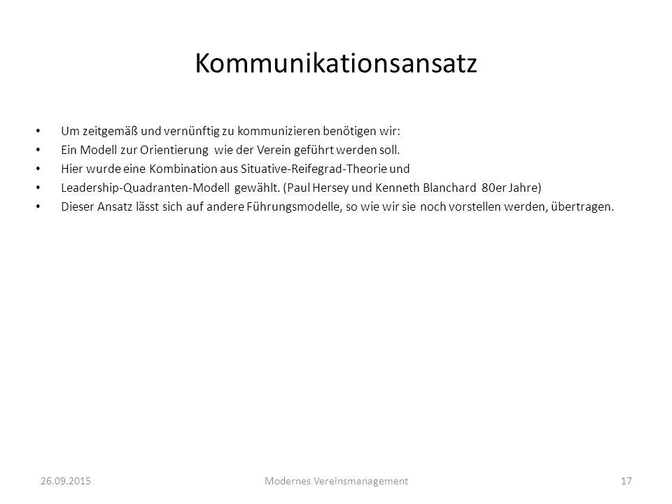 26.09.2015Modernes Vereinsmanagement17 Kommunikationsansatz Um zeitgemäß und vernünftig zu kommunizieren benötigen wir: Ein Modell zur Orientierung wi