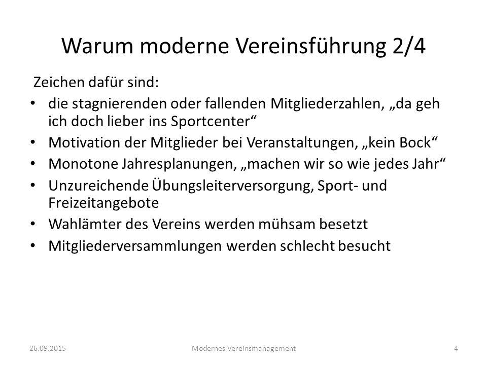 """26.09.2015Modernes Vereinsmanagement4 Zeichen dafür sind: die stagnierenden oder fallenden Mitgliederzahlen, """"da geh ich doch lieber ins Sportcenter"""""""