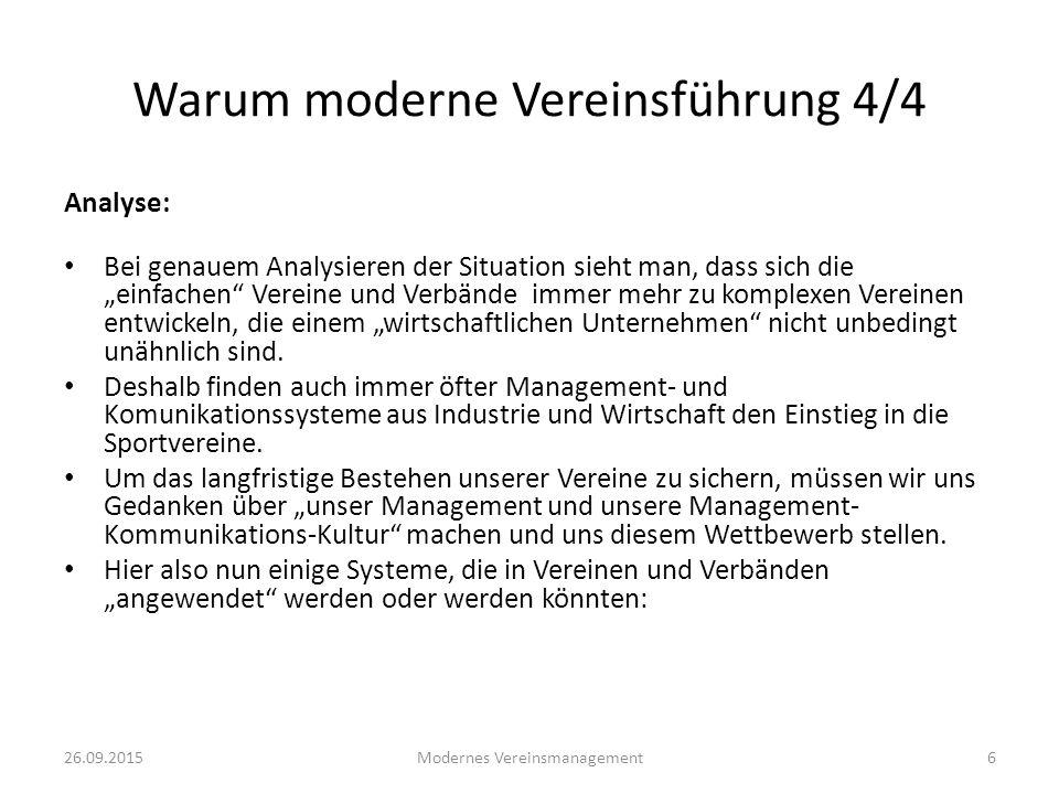 26.09.2015Modernes Vereinsmanagement17 Kommunikationsansatz Um zeitgemäß und vernünftig zu kommunizieren benötigen wir: Ein Modell zur Orientierung wie der Verein geführt werden soll.