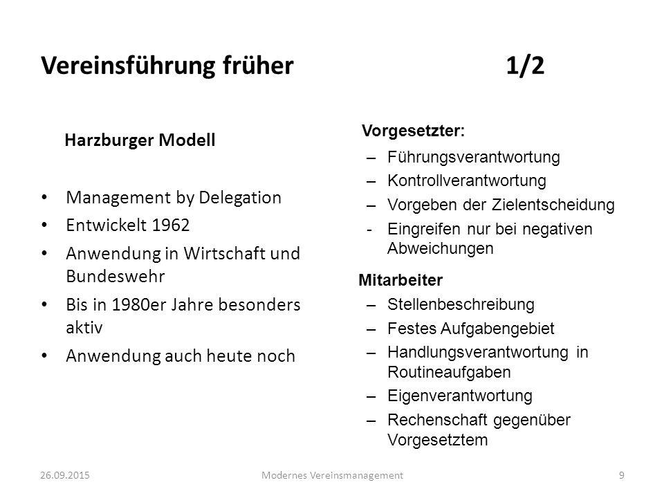 26.09.2015Modernes Vereinsmanagement9 Harzburger Modell Management by Delegation Entwickelt 1962 Anwendung in Wirtschaft und Bundeswehr Bis in 1980er