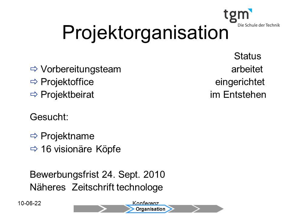 10-06-22Konferenz Status  Vorbereitungsteam arbeitet  Projektoffice eingerichtet  Projektbeirat im Entstehen Gesucht:  Projektname  16 visionäre Köpfe Bewerbungsfrist 24.