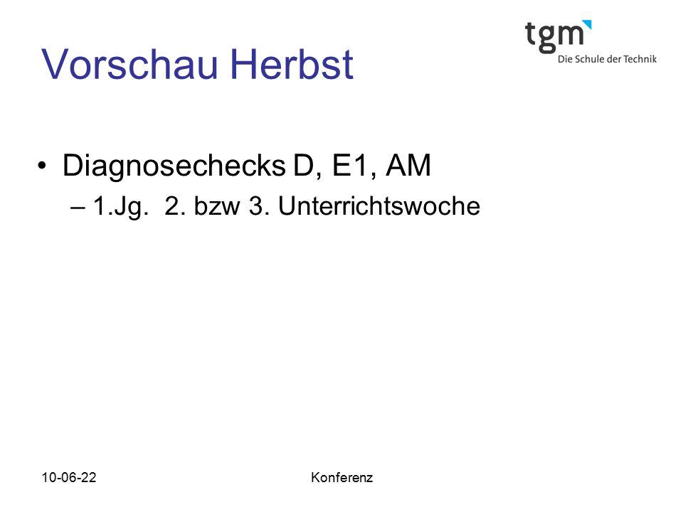 10-06-22Konferenz Vorschau Herbst Diagnosechecks D, E1, AM –1.Jg. 2. bzw 3. Unterrichtswoche
